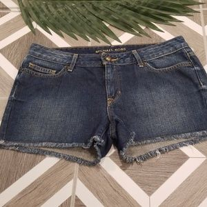 Michael Kors Blue Denim Jean Shorts Fringed Size 2